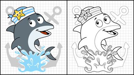 Vector illustration of coloring book or page with dolphin cartoon