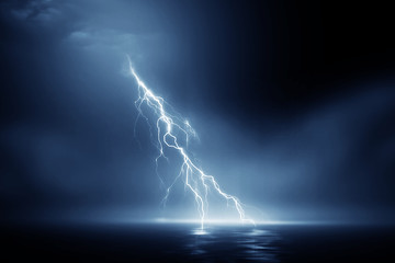 Fotobehang Onweer Lightning storm 3d rendering over Black sea near