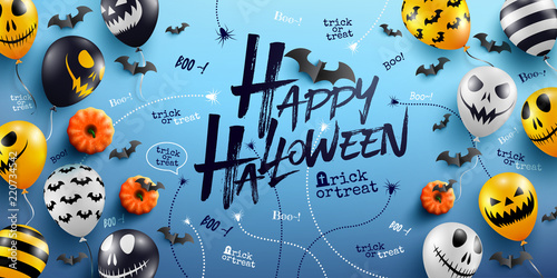 happy halloween background with halloween ghost balloons scary air