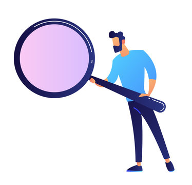 IT expert holding a big magnifying glass vector illustration