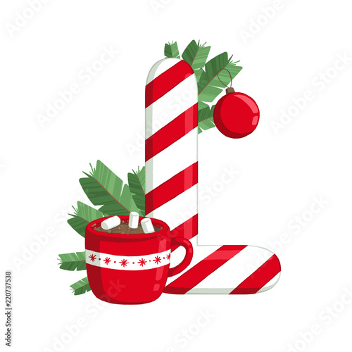 christmas alphabet illustration of letter l with tree cocoa and decorations use for - Christmas Letter Decorations