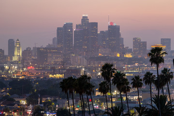 Keuken foto achterwand Los Angeles Los Angeles downtown buildings evening