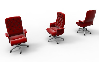 3D render - red leather office chairs