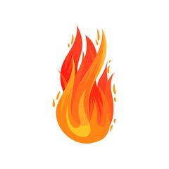 Cartoon icon of bright red-orange fire in flat style. Hot blazing flame. Flat vector element for advertising poster, banner, flyer