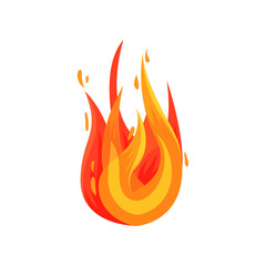 Flat vector icon of hot flame. Bright red-orange fire. Element for mobile game, advertising flyer or poster