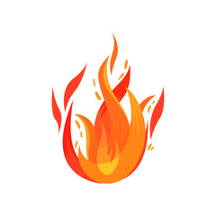 Bright red-orange fiery flame. Burning campfire. Cartoon icon of hot blazing fire. Flat vector for warning sign or poster