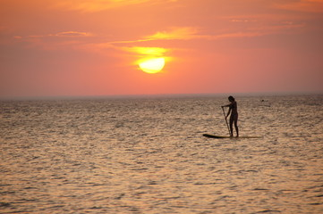 Paddle Boarder at Sunset, Lake Michigan