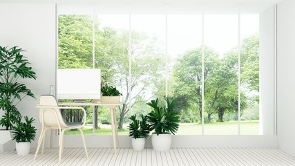 The interior minimal work space 3d rendering and nature view background
