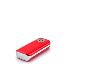 Red power bank on white background