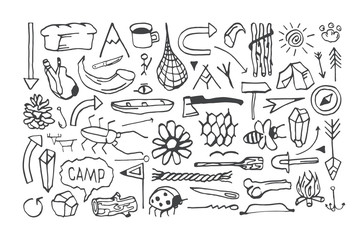 Set of camping icons in the style of hand-drawn graphics