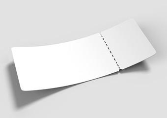 Blank ticket for mock up design or design presentation. 3d render illustration.