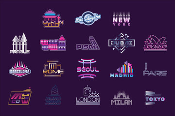 World cities labels set, logo graphic templates vector Illustrations