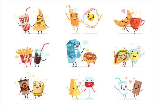 Cute comic food cartoon characters, best friends vector Illustrations