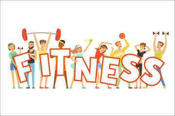 Group of smiling people in sport uniform holding the word Fitness cartoon colorful vector Illustration