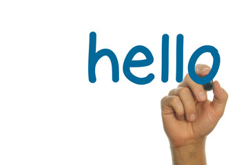 hello - written in blue small letters by male caucasian hand