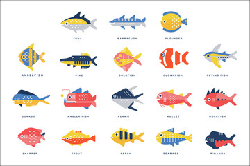 Collection of sea and river fish and lettering name in English vector Illustrations