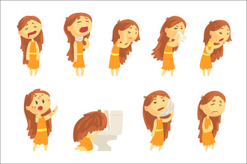Cartoon unhappy woman suffering from pain with symptoms of diseases in various pose, set of colorful detailed vector Illustrations