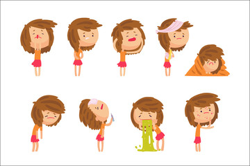 Cartoon unhappy girl suffering from pain with symptoms of diseases in various pose, set of colorful detailed vector Illustrations
