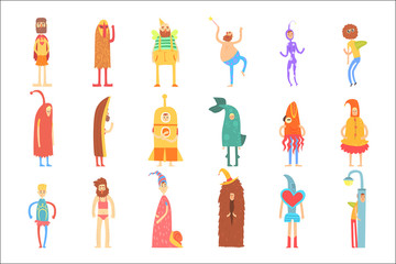Set of people in funny costumes, colorful characters vector Illustrations