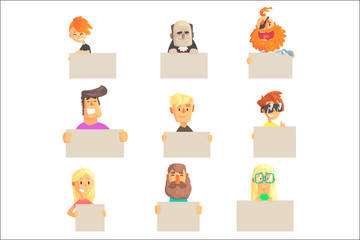 Different people holding blank boards set. Smiling cartoon men and women characters with empty banners vector illustrations