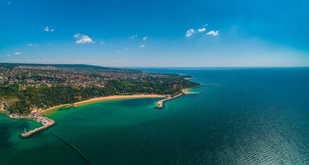 Aerial drone view of beautiful Black sea coast near Varna, Bulgaria