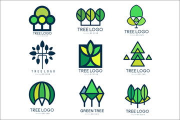 Tree logo original design set of vector Illustrations in green colors