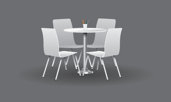 White Modern round table with chairs. Vector illustration.