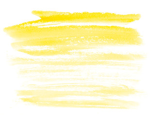 Stripes yellow watercolor on white background.The color splashing on the paper. Hand drawn.