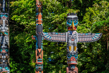 First Nations American Indian totem poles in Stanley Park in Vancouver Canada