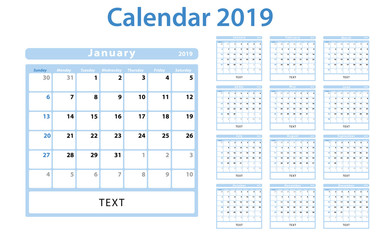 2019 monthly calendar in soft blue and white colors
