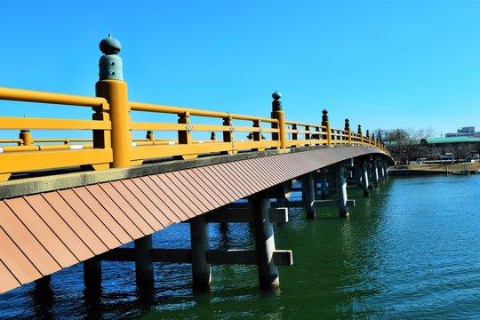 瀬田の唐橋と青空、クローズアップ、滋賀県、日本