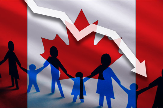 Canada flag background of the arrow chart down. Decrease in the number of the country's rape. Fertility below the measurement