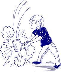 cartoon tekening van iets kapot slaan