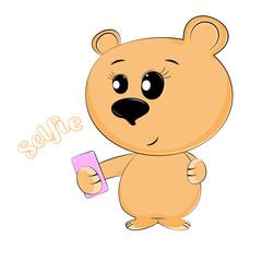 Bear make the selfie photo on a smartphone