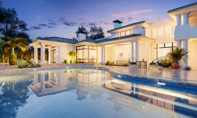 Expensive private villa. Swimming pool in a private house. Evening in a country house. Mansion exterior. Luxury villa with swimming pool. Fotomurales