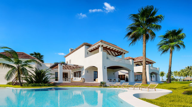 Private villa. Expensive mansion in oriental style. Summer time. Pool near the house.