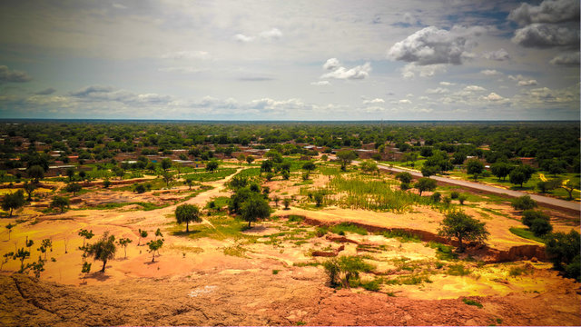 Aerial Panoramic landscape view to sahel and oasis at Dogondoutchi, Niger