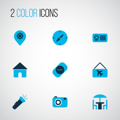 Trip icons colored set with label, flashlight, house and other home