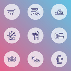 City icons line style set with hotel, ferris wheel, video control and other fireplug