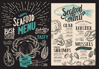 Seafood menu for restaurant. Vector food flyer for bar and cafe. Design template with vintage hand-drawn illustrations.