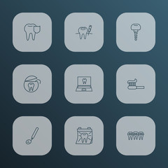 Enamel icons line style set with carries defense, tooth floss, anesthesia and other syringe  elements. Isolated vector illustration enamel icons.