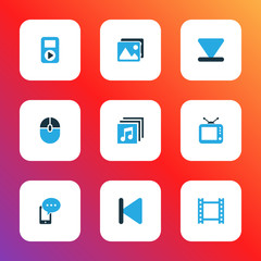 Media icons colored set with video, backward, albums and other control device