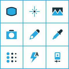Image icons colored set with photographing, flare, broken image and other smartphone  elements. Isolated vector illustration image icons.