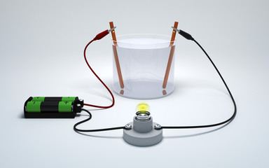 Electrolysis of water with battery and bulb on white background. Strong electrolyte burn a light bulb.