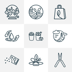 World icons line style set with eco food, flower seed, flower basket and other drop  elements. Isolated  illustration world icons.