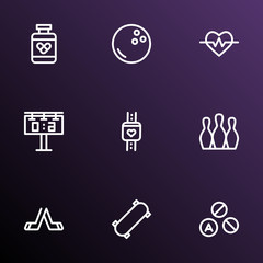 Lifestyle icons line style set with smart watch, bowling, drugs and other skittles  elements. Isolated  illustration lifestyle icons.