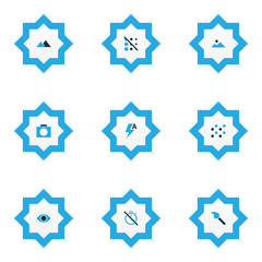 Picture icons colored set with filter, chronometer, landscape round  elements. Isolated  illustration picture icons.