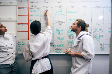 Female chef writing menu on whiteboard by colleagues in kitchen