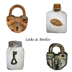 atercolor rusty old locks and bottles with key and autumn leaves