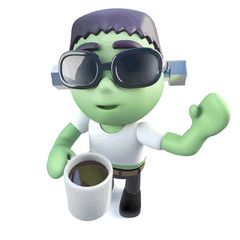 Vector 3d Funny cartoon frankenstein monster character drinking coffee from a mug
